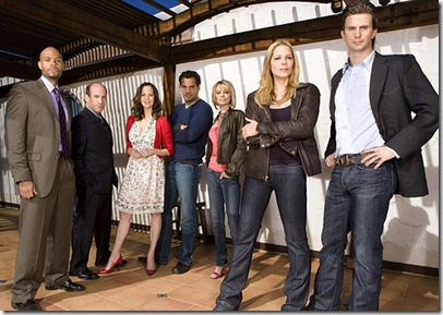 IN PLAIN SIGHT -- Pictured: (l-r) Todd Williams as Bobby D, Paul Ben-Victor as Stan McQueen, Lesley Ann Warren as Jinx Shannon, Cristian de la Fuente as Raphael Rosales, Nichole Hiltz as Brandi Shannon, Mary McCormack as Mary Shannon, Frederick Weller as Marshall Mann -- USA Network Photo: Michael Muller