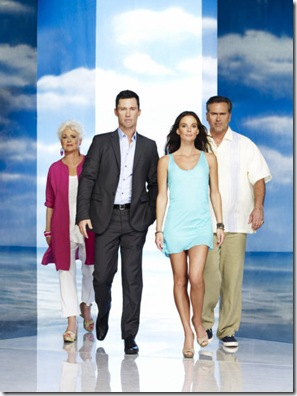 BURN NOTICE -- Season:4 -- Pictured: (l-r) Sharon Gless as Madeline Westen, Jeffrey Donovan as Michael Westen, Gabrielle Anwar as Fiona Glenanne, Bruce Campbell as Sam Axe -- Photo by: Nigel Parry/USA Network