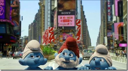 Grouchy, Papa and Clumsy Smurf in Columbia PIctures' THE SMURFS.