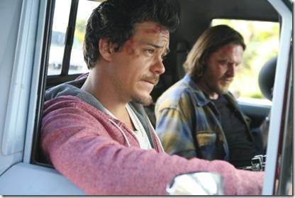 Hank & Britt [foreground] in truck