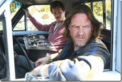 Hank [foreground] & Britt in Truck