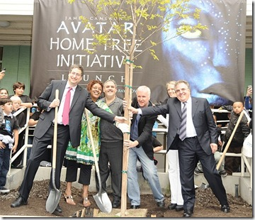 "attends Blu-ray disc and DVD release of ""Avatar"" at an Earth Day tree planting ceremony at Twentieth Century Fox Studio Lot on April 22, 2010 in Los Angeles, California."