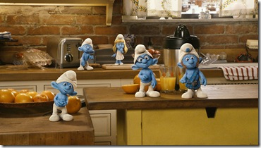 (L to R) Clumsy, Grouchy, Smurfette, Brainy and Gutsy Smurf in Columbia Pictures' THE SMURFS.