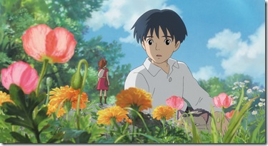 """""""THE SECRET WORLD OF ARRIETTY""""   Human boy Shawn (right, voice of David Henrie) is astonished when he visits the garden and discovers Arrietty (voice of Bridgit Mendler) a tiny person who lives hidden with her family under the floorboards of the house where he's staying, in Disney's release of the Studio Ghibli animated feature, """"The Secret World of Arrietty."""" (Opening in theaters Feb. 17, 2012)  © 2010 GNDHDDTW. All Rights Reserved."""