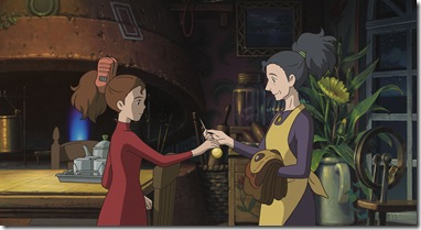 """""""THE SECRET WORLD OF ARRIETTY""""   Strong-willed Arrietty (left, voice of Bridgit Mendler) shows her mother, Homily (voice of Amy Poehler), an amazing object that she has """"borrowed"""" while on her first covert mission with her father, in Disney's release of the Studio Ghibli animated feature, """"The Secret World of Arrietty."""" (Opening in theaters Feb. 17, 2012)  © 2010 GNDHDDTW. All Rights Reserved."""