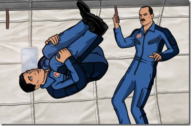 ARCHER, Episode 9:  Space Race, Part I (airing Thursday, March 15).  Sterling Archer and his colleagues at ISIS voyage to the final frontier in an effort to prevent a catastrophe on the International Space Station.  L-R: Agent Sterling Archer (voice of H. Jon Benjamin) and Commander Anthony Drake (voice of guest star Bryan Cranston).