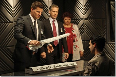 BONES:  (L-R) Booth (David Boreanaz), FBI Special Agent Hayes Flynn (guest star Reed Diamond) and AUSA Caroline Julian (guest star Patricia Belcher) question Christopher Pelant (guest star Andrew Leeds, R) in the Season Eight premiere episode of BONES airing Monday, Sept. 17 (8:00-9:00 PM ET/PT) on FOX.  2012 Fox Broadcasting Co.  Cr:  Patrick McElhenney/FOX