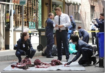 BONES:   Brennan (Emily Deschanel, L), Booth (David Boreanaz, C) and Cam (Tamara Taylor, R) investigate remains found in a city garbage can in &quot;The Method in the Madness&quot; episode of BONES airing Monday, Nov. 5 (8:00-9:00 PM ET/PT) on FOX.  2012 Fox Broadcasting Co.  Cr:  Ray Mickshaw/FOX