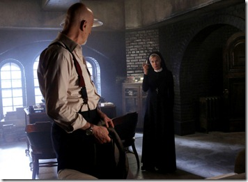 AMERICAN HORROR STORY Nor'easter -- Episode 203, Wednesday, October 31, 10:00 pm e/p) -- Pictured: (L-R) James Cromwell as Dr. Arthur Arden, Jessica Lange as Sister Jude -- CR: Byron Cohen/FX