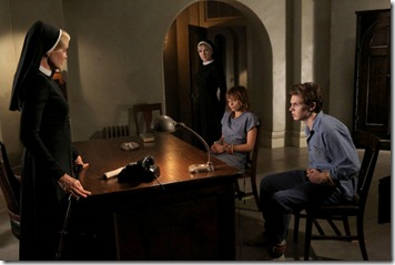 AMERICAN HORROR STORY I Am Anne Frank, Pt. 1 -- Episode 204, Wednesday, November 7, 10:00 pm e/p) -- Pictured: (L-R) Jessica Lange as Sister Jude, Lily Rabe as Sister Mary Eunice, Lizzie Brochere as Grace, Evan Peters as Kit -- CR: Byron Cohen/FX