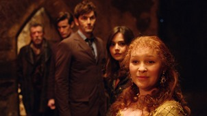 Picture shows; JOHN HURT as The Doctor, MATT SMITH as the Eleventh Doctor, DAVID TENNANT as the Tenth Doctor, JENNA COLEMAN as Clara and JOANNA PAGE as Queen Elizabeth in the 50th Anniversary Special - The Day of the Doctor