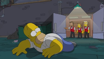 "THE SIMPSONS: Homer gets ejected from the movie theater in the all-new ""Steal This Episode"" episode of THE SIMPSONS airing Sunday, Jan. 5 (8:00-8:30 PM ET/PT) on FOX. THE SIMPSONS ™ and © 2014 TCFFC ALL RIGHTS RESERVED."