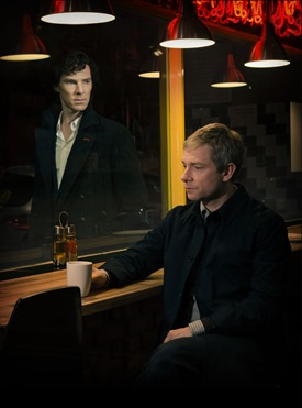 Sherlock Season 3 Sundays January 19 - February 2, 2014 10pm ET on MASTERPIECE on PBS  Sherlock Holmes stalks again in a third season of the hit modern version of the Arthur Conan Doyle classic, starring Benedict Cumberbatch (War Horse) as the go-to consulting detective in 21st-century London and Martin Freeman (The Hobbit)as his loyal friend, Dr. John Watson.  Shown from left to right: Benedict Cumberbatch as Sherlock Holmes and Martin Freeman as Dr. John Watson  (C)Robert Viglasky/Hartswood Films for MASTERPIECE  This image may be used only in the direct promotion of MASTERPIECE. No other rights are granted. All rights are reserved. Editorial use only.