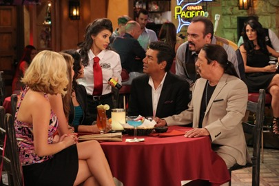 SAINT GEORGE Won't Get Fooled Again - Episode 1 (Airs Thursday, March 6, 9:00 PM e/p) -- Pictured: (from center, L-R) Mikaela Hoover as Chloe, George Lopez as George, David Zayas as Junior, Danny Trejo as Tio -- CR. Byron Cohen/FX