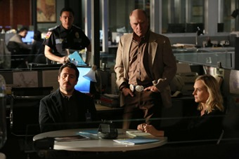 "THE BRIDGE - ""Sorrowsworn"" - Episode 3 (Airs, Wednesday, July 23, 10:00 pm e/p) Pictured: (L-R) Demian Bichir as Marco Ruiz, Ted Levine as Lt. Hank Wade, Diane Kruger as Sonya Cross. CR: Byron Cohen/FX Network"