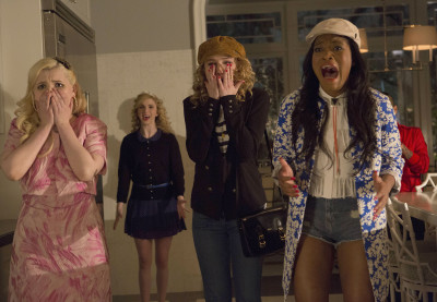 SCREAM QUEENS: Chanel #5 (Abigail Breslin, L) and new Sorority Pledges Grace (Skyler Samuels, C) and Zayday (Keke Palmer, R) are horrified on SCREAM QUEENS premiering September 2015 on FOX. ©2015 Fox Broadcasting Co. CR: Steve Dietl/FOX