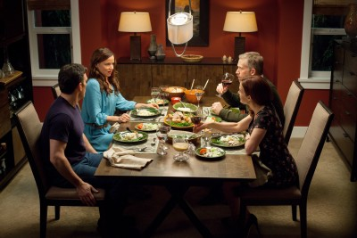 "WAYWARD PINES:  Ethan (Matt Dillon, L) and Beverly (Juliette Lewis, second from L) have dinner with Kate (Carla Gugino, R) and Harold (Reed Diamond, second from R) in the ""Don't  Discuss Your Life Before"" episode of WAYWARD PINES airing Thursday, May 21 (9:00-10:00 PM ET/PT) on FOX.  ©2015 Fox Broadcasting Co.  Cr:  Liane Hentscher/FOX"