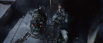 Left to right: Series T-800 Robot and Jai Courtney plays Kyle Reese in Terminator Genisys from Paramount Pictures and Skydance Productions.