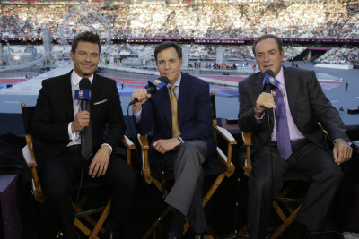 2012 SUMMER OLYMPICS -- Pictured: (l-r) Ryan Seacrest, Bob Costas, Al Michaels -- (Photo by: Paul Drinkwater/NBC)