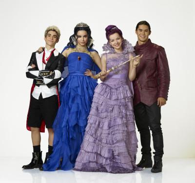 "DESCENDANTS - Disney Channel's original movie ""Descendants"" stars Cameron Boyce as Carlos, Sofia Carson as Evie, Dove Cameron as Mal and Booboo Stewart as Jay. (Disney Channel/Bob D'Amico)"