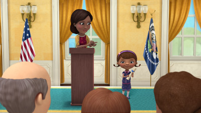 "DOC MCSTUFFINS - ""Doc McStuffins Goes to Washington"" - Doc and the toys travel to Washington D.C. to meet the First Lady of the United States, Michelle Obama, in a special episode of Disney Junior's acclaimed animated series ""Doc McStuffins,"" premiering MONDAY, OCTOBER 5 (9:00 a.m., ET/PT) on Disney Channel. (Disney Junior) FIRST LADY MICHELLE OBAMA, DOC"