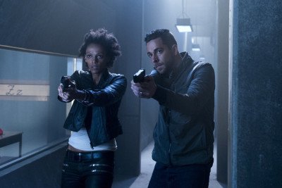 "HEROES REBORN -- ""Awakening"" Episode 101 -- Pictured: (l-r) Judith Shekoni as Joanne Collins, Zachary Levi as Luke Collins -- (Photo by: Christos Kalohoridis/NBC)"