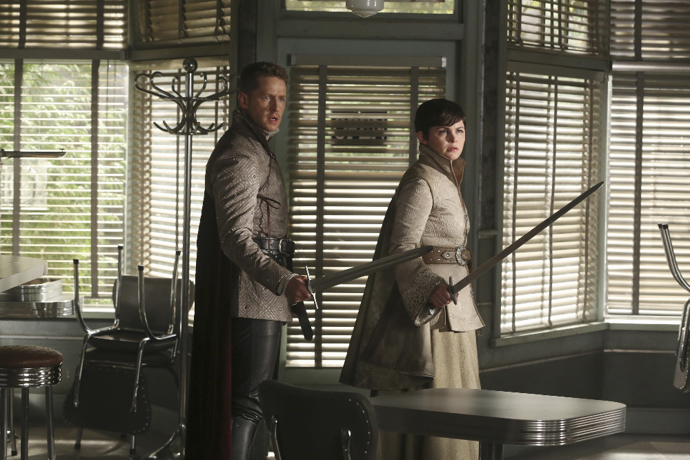 """ONCE UPON A TIME - """"The Broken Kingdom"""" - After receiving a cryptic warning from Lancelot about Arthur's intentions, Mary Margaret realizes Arthur may be the heroes' biggest threat, but when she is unable to convince David of the danger, she takes matters into her own hands. Meanwhile, Hook's unwavering love for Emma provides a glimmer of hope in her struggle against the unrelenting voice of Rumplestiltskin. In a Camelot flashback, Guinevere senses that Arthur is losing his way, consumed by his obsession with making Excalibur whole, so she sets out with Lancelot on her own quest into the heart of darkness. In Storybrooke, Dark Emma unleashes a secret weapon in the next phase of her plan to find the brave soul she needs to draw Excalibur from the stone, on """"Once Upon a Time,"""" SUNDAY, OCTOBER 18 (8:00-9:00 p.m., ET) on the ABC Television Network. (ABC/Jack Rowand) JOSH DALLAS, GINNIFER GOODWIN"""