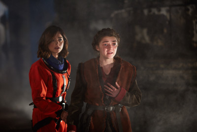 Picture shows: Jenna Coleman as Clara and Maisie Williams as Ashildre