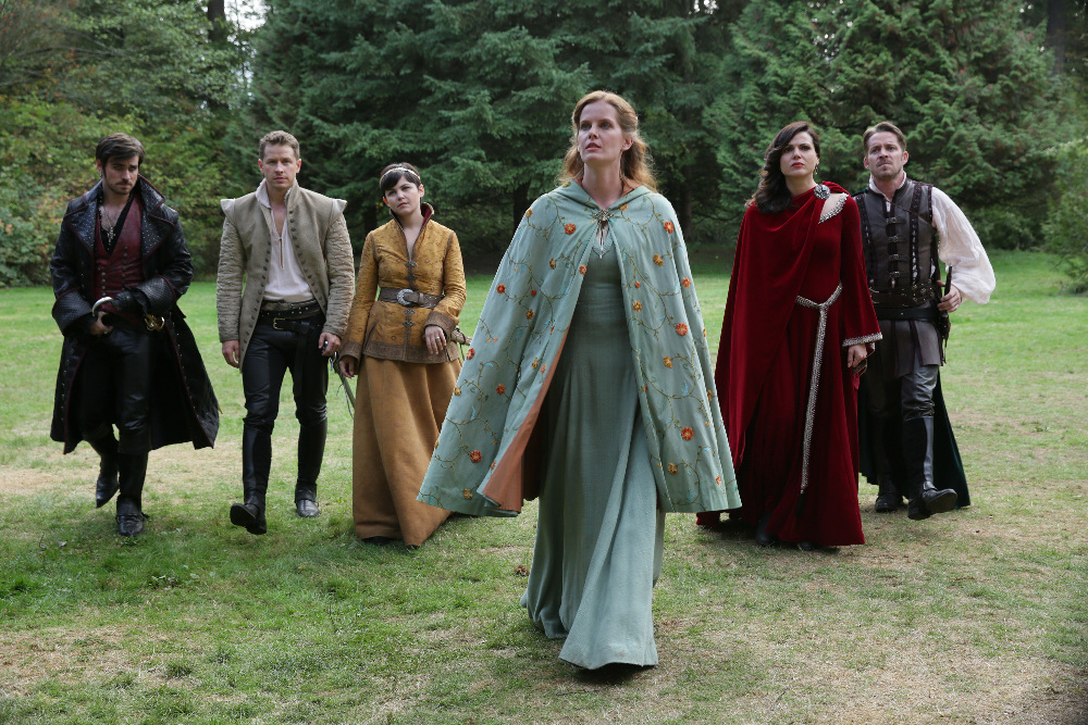 "ONCE UPON A TIME - ""Nimue"" - In Camelot, Merlin spearheads a mission to reunite the dagger with Excalibur so he can use the weapon to save Emma from the darkness threatening her soul. With Zelena in tow, Hook, Mary Margaret, David, Regina and Robin steal into Arthur's castle to take the broken sword from the maniacal king. Meanwhile, Merlin brings Emma along on a journey to confront his ancient nemesis and retrieve the sacred spark he'll need to reforge Excalibur. Both parties are tested, but one suffers a blow that could derail the entire operation. In a flashback to long before the Age of Arthur, young Merlin finds purpose after he is blessed with magic and immortality, but when he falls in love with a young refugee named Nimue, everything changes for Merlin, as their romance starts a chain of events that touches every one of our present day heroes, on ""Once Upon a Time,"" SUNDAY, NOVEMBER 8 (8:00-9:00 p.m., ET) on the ABC Television Network. (ABC/Jack Rowand) COLIN O'DONOGHUE, JOSH DALLAS, GINNIFER GOODWIN, REBECCA MADER, LANA PARRILLA, SEAN MAGUIRE"