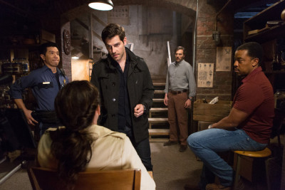 """GRIMM -- """"The Grimm Identity"""" Episode 501 -- Pictured: (l-r) Reggie Lee as Sgt. Wu, David Giuntoli as Nick Burkhardt, Silas Weir Mitchell as Monroe, Russell Hornsby as Hank Griffin -- (Photo by: Scott Green/NBC)"""