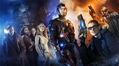 Pictured (L-R): Arthur Darvill as Rip Hunter, Ciara Renee as Kendra/Hawkgirl, Victor Garber as Professor Martin Stein, Caity Lotz as White Canary, Brandon Routh as Ray Palmer/Atom, Wentworth Miller as Leonard Snart/Captain Cold, and Dominic Purcell as Mick Rory/Heat Wave -- Credit: Jordan Nuttall/The CW