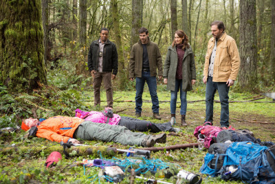 "GRIMM -- ""Lycanthropia"" Episode 514 -- Pictured: (l-r) Russell Hornsby as Hank Griffin, David Giuntoli as Nick Burkhardt, Bree Turner as Rosalee Calvert, Silas Weir Mitchell as Monroe -- (Photo by: Scott Green/NBC)"