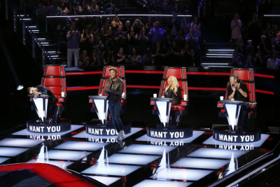 THE VOICE -- Blind Auditions -- Pictured: (l-r) Adam Levine, Pharrell Williams, Christina Aguilera, Blake Shelton -- (Photo by: Trae Patton/NBC)