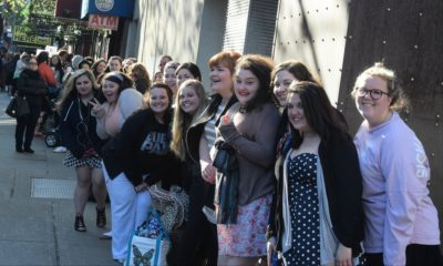 """HAIRSPRAY LIVE! -- """"Open Casting Call for Tracy Turnblad in New York City on Sunday, April 24 -- Pictured: Hopefuls line up for the Hairspray Live! casting call on April 24th in New York City -- (Photo by: Charles Sykes/NBC)"""
