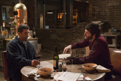 David Schwimmer as Tommy Moran; Jim Sturgess as Dion Patras - Feed The Beast _ Season 1, Episode 1 - Photo Credit: Ali Paige Goldstein/AMC