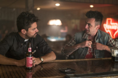 Dominic Cooper as Jesse Custer, Joseph Gilgun as Cassidy - Preacher _ Season 1, Pilot - Photo Credit: Lewis Jacobs/Sony Pictures Television/AMC