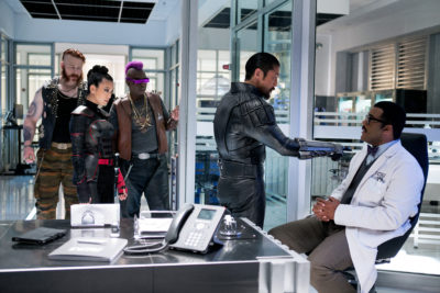 Left to right: Sheamus as Rocksteady, Brittany Ishibashi as Karai, Gary Anthony Williams as Bebop, Brian Tee as Shredder and Tyler Perry as Baxter Stockman in Teenage Mutant Ninja Turtles: Out of the Shadows from Paramount Pictures, Nickelodeon Movies and Platinum Dunes