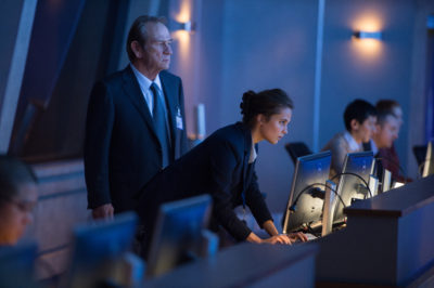 """CIA Director Dewey (TOMMY LEE JONES) and Heather Lee (ALICIA VIKANDER) in """"Jason Bourne,"""" the action-thriller in which Matt Damon returns to his most iconic role. Paul Greengrass, the director of The Bourne Supremacy and The Bourne Ultimatum, once again joins Damon for the next chapter of Universal Pictures' Bourne franchise, which finds the CIA's most lethal former operative drawn out of the shadows."""