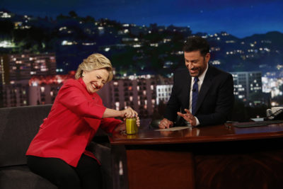 "JIMMY KIMMEL LIVE - ""Jimmy Kimmel Live"" airs every weeknight at 11:35 p.m. EDT and features a diverse lineup of guests that includes celebrities, athletes, musical acts, comedians and human interest subjects, along with comedy bits and a house band. The guests for Monday, August 22 included Presidential Nominee and former United States Secretary of State Hillary Clinton and John Krasinski (""The Hollars""). (ABC/Randy Holmes) HILLARY CLINTON, JIMMY KIMMEL"
