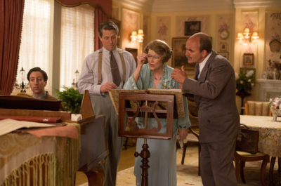 Simon Helberg as Cosme McMoon, Hugh Grant as St Clair Bayfield, Meryl Streep as Florence Foster Jenkins and David Haig as Carlo Edwards in FLORENCE FOSTER JENKINS by Paramount Pictures, Pathé and BBC Films