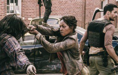 "Z NATION -- ""Zombie Baby Daddy"" Episode 206 -- Pictured: (l-r) Kellita Smith as Warren, Matt Cedeno as Vasquez -- (Photo by: Oliver Irwin/Go2 Z Ice/Syfy)"