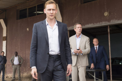 Tom Hiddleston as Jonathan Pine; Hugh Laurie as Richard Roper; Alistair Petrie as Sandy Langbourne; group- The Night Manager _ Season 1, Episode 6- Photo Credit: Des Willie/AMC