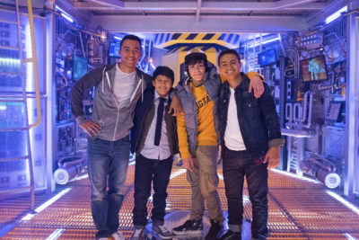"""MECH-X4 - Meet the cast of """"MECH-X4,"""" a live-action adventure comedy series centered on a heroic team of four teenage boys who take on the responsibility of controlling a giant robot in order to protect their city from danger.  """"MECH-X4"""" is scheduled to debut fall 2016 on Disney XD. (Disney XD/David Bukach) RAYMOND CHAM, KAMRAN LUCAS, PEARCE JOZA, NATHANIEL JAMES POTVIN"""