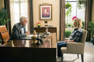 """THE GOOD PLACE --  """"Everything Is Fine"""" Episode 101--  Pictured: (l-r) Ted Danson as Michael, Kristen Bell as Eleanor -- (Photo by: Justin Lubin/NBC)"""