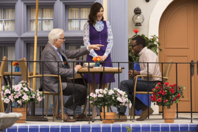 """THE GOOD PLACE -- """"Tahani Al-Jamil"""" Episode 103 -- Pictured: (l-r) Ted Danson as Michael, D'Arcy Carden as Janet, William Jackson Harper as Chidi -- (Photo by: Justin Lubin/NBC)"""