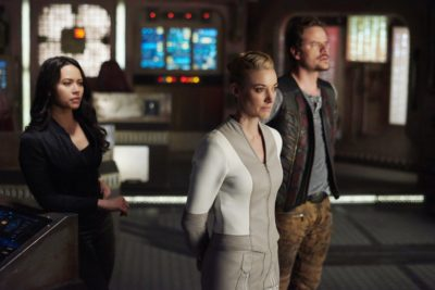 "DARK MATTER -- ""But First, We Save the Galaxy"" Episode 213 -- Pictured: (l-r) Melissa O'Neil as Two, Zoie Palmer as The Android, Anthony Lemke as Three -- (Photo by: Russ Martin/Prodigy Pictures/Syfy)"