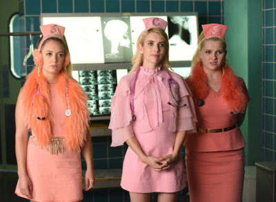 "SCREAM QUEENS: L-R: Billie Lourd, Emma Roberts and Abigail Breslin in the all-new ""Scream Again"" season premiere episode of SCREAM QUEENS airing Tuesday, Sept. 20 (9:01-10:00 PM ET/PT) on FOX. Cr: Michael Becker / FOX. © 2016 Fox Broadcasting Co."