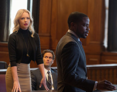 DOUBT stars Katherine Heigl as Sadie Ellis, a brilliant attorney at a boutique firm who starts to fall for her charismatic client, Billy Brennan (Steven Pasquale, center), an altruistic pediatric surgeon recently accused of murdering his girlfriend 24 years ago. Sadie is hiding her growing feelings from everyone, including her close friend and colleague, Albert Cobb (DulÈ Hill).  DOUBT will air during the 2016-2017 season on the CBS Television Network.  Photo:  JoJo Whilden/CBS © 2016 CBS Broadcasting Inc. ALL RIGHTS RESERVED.