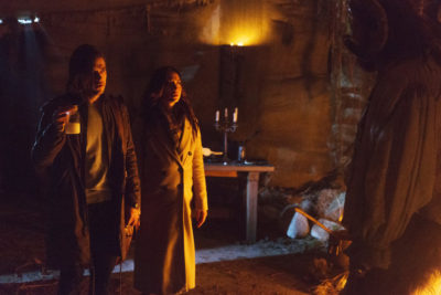 "THE MAGICIANS -- ""Have You Brought Me Little Cakes"" Episode 113 -- Pictured: (l-r) Jason Ralph as Quentin, Stella Maeve as Julia -- (Photo by: Jeff Weddell/Syfy)"