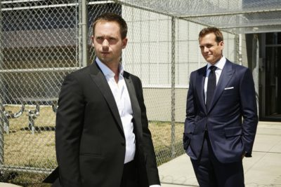 "SUITS -- ""The Hand That Feeds You"" Episode 609 -- Pictured: (l-r) Patrick J. Adams as Michael Ross, Gabriel Macht as Harvey Specter -- (Photo by: Ian Watson/USA Network)"